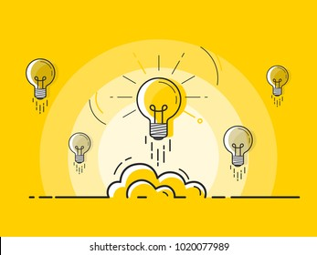 Set of light bulbs rocket launch with one glowing. Trendy flat vector light bulb icons with concept of idea on yellow background.