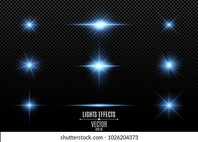 Set of light effects, lights and sparks. Blue lights on a transparent background. Bright blue flashes and glares. Bright rays of light. Vector illustration. EPS 10