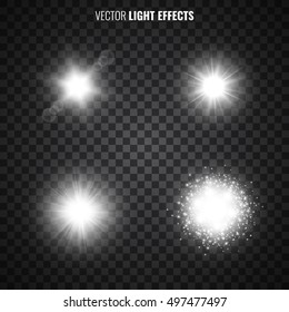Set of light effects on transparent background. White starlight, sun rays, flares, sparkles. Glittering lights. Vector illustration.