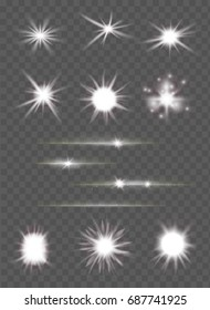 set of light flashes and lens flares  with sparkling rays over transparent background. glowing suns burst and bright glitter stars effect. vector illustration