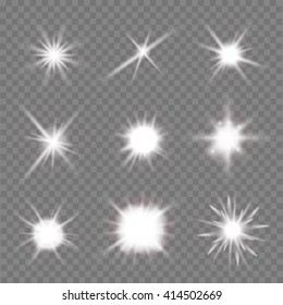 set of light flashes over transparent background. vector illustration