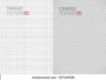Set of light gray white line vector fabric thread canvas burlap texture in A4 paper size backgrounds, thread gray pattern backdrop vertical paper format. Vector illustration EPS10.