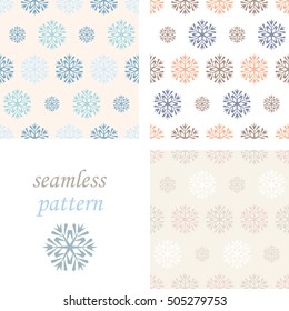 Set of light pastel seamless vintage  winter pattern with snowflakes