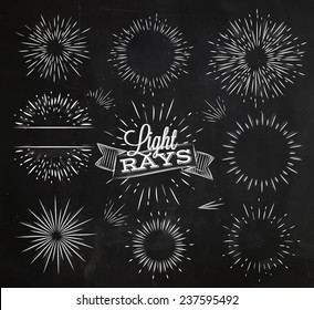 Set light ray in vintage style drawing with chalk