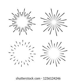 Set of light rays, sunburst and rays of sun. Design elements, linear drawing, vintage hipster style. Light rays sunburst, arrow, ribbon Vector Illustration