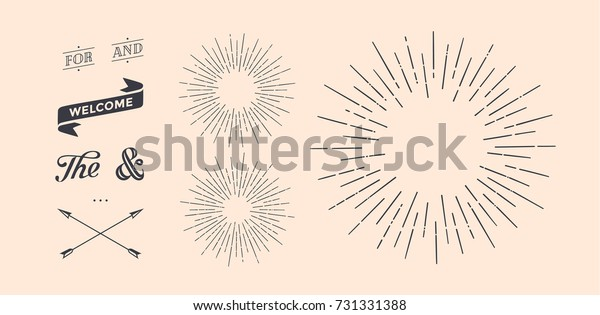 Set of light rays, sunburst and rays of sun. Design elements, linear drawing, vintage hipster style. Light rays sunburst, arrow, ribbon, and, for, the and ampersand. Vector Illustration