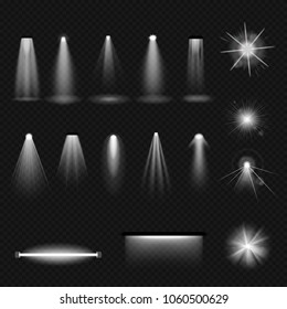 Set of light sources, lighting: incandescent lamps, halogen lamps and fluorescent, leds, floodlight, sunlight, ultraviolet. Effects, types of lighting on transparent background. Illustration isolated.