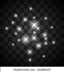 Set of light sparkles on a transparent background vector