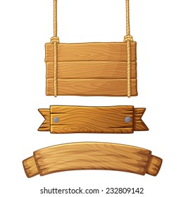 Set of light wooden banners. Vector illustration.