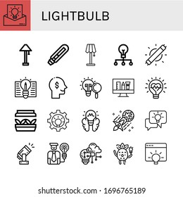 Set of lightbulb icons. Such as Idea, Lamp, Light bulb, Creative, Led light, Thinking, Innovation, Artificial light, Lightbulb, Creativity , lightbulb icons