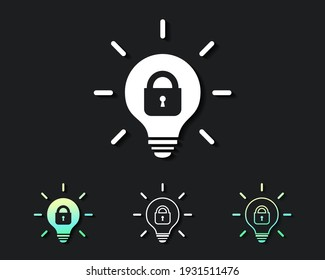 Set of lightbulb with padlock inside. Patented or locked innovations. Protection and privacy intellectual property. Illustration vector