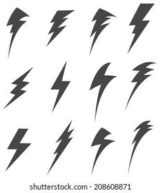 Set of Lightening Bolt Icon - Illustration