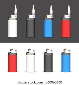 Set of Lighters on a Black and White Background. Lighters Lighted and not Lighted. EPS-10. Mesh gradient and transparency was used.