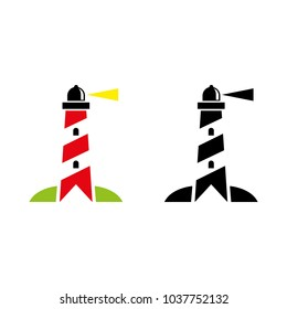 A set of lighthouse icons