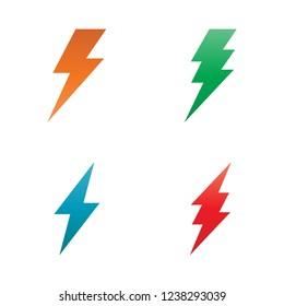 Set Lighting Bolt Energy Logo Template