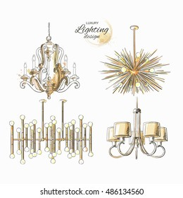 Set of lighting decor vintage chandelier modern golden lamp vector isolated sketch hand drown store, apartment, promotion, sale, ads