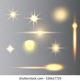 Set of lighting effects.Light effect design.Vector illustration.