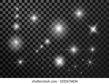 Set lighting flare, star. Isolated on transparent background. Vector illustration