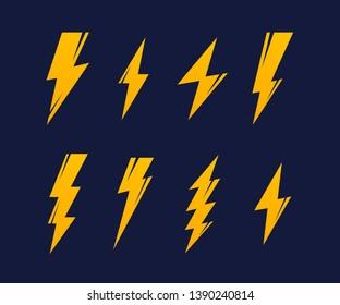 Set Lightning bolt. Thunderbolt, lightning strike. Modern flat style vector illustration.