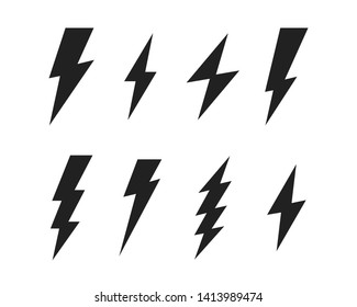 Set Lightning bolt. Thunderbolt, lightning strike. Modern flat style vector illustration.