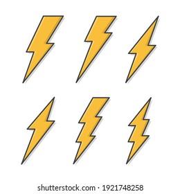 Set Of Lightning Bolt Vector Icon Illustration. Thunderbolt Flat Icon