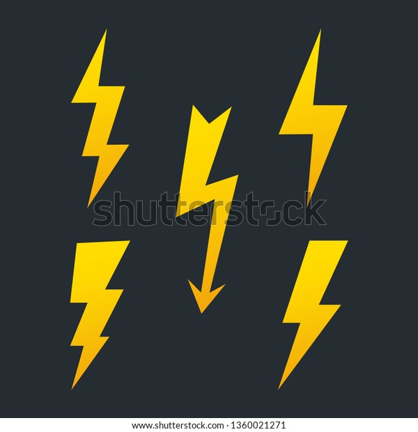 Set Lightning Bolts High Voltage Icon Stock Vector (Royalty