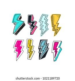 Set of Lightning doodle