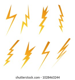 Set of lightning and electricity. Vector illustration.
