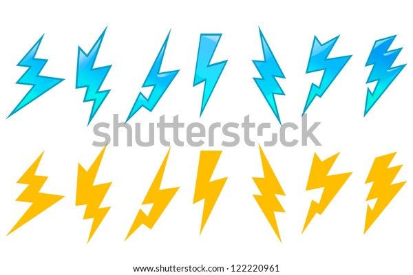 Set Lightning Icons Symbols Isolated On Stock Vector