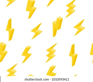 set of lightning in isometric. seamless texture on white background 3d