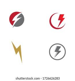 Set Lightning  Logo Template vector symbol nature