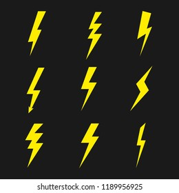 Set of lightning. Thunder or storm symbol. Vector