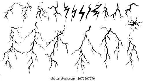 Set of lightnings. Collection of black natural phenomena of lightning or thunder. Bright light effects. Black and white vector illustration on a white background.