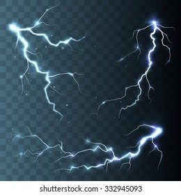 Set of  lightnings.  Magic and bright light effects. Vector Illustration