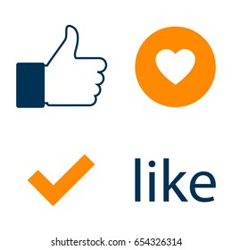 Set Like Icon for facebook. Like Counter Notification Icon