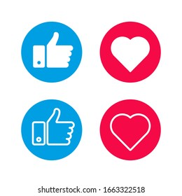 Set like icons on white background. Four objects. Red and blue. Thumbs up. Vector illustration