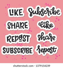 Set of Like Share Repost Subscribe hand lettering stickers. Typographic and calligraphic inscriptions for social media and blog posts. Handwritten web sayings on coral background with doodles.