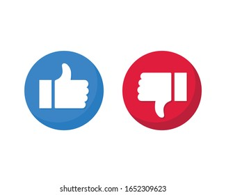 set of like and unlike icons. thumb up and down isolated on white background. vector Illustration.