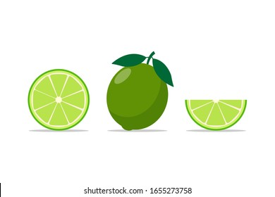 set of Lime flat vector cartoon illustration. fresh green lime isolated on white background.