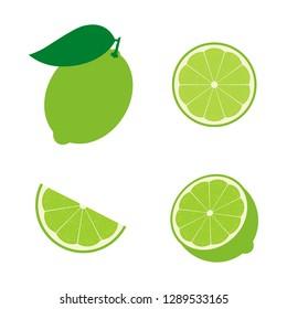 Set of lime fruit : half , slime, piece, lime in peel. Vector illustration. Flat design for business financial marketing banking advertising web concept cartoon illustration.