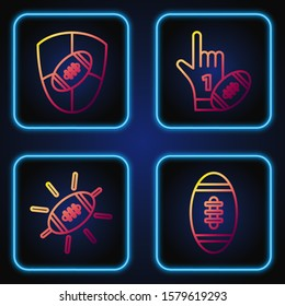 Set line American Football ball, American Football ball, American Football ball and shield and Number 1 one fan hand glove with finger raised and american football ball. Gradient color icons. Vector