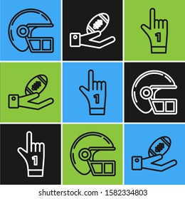 Set line American football helmet, Number 1 one fan hand glove with finger raised and American Football ball on hand icon. Vector