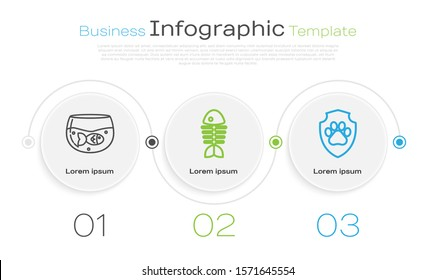 Set line Aquarium with fish, Fish skeleton and Animal health insurance. Business infographic template. Vector