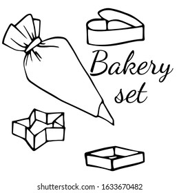 Set of line art bakeware. Cookie cutter and pastry bag. Vector illustration of cartoon flat icon isolated on white background.