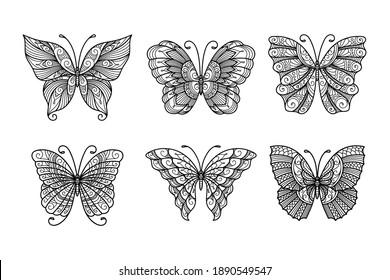 Set of line art butterflies, monochrome illustration butterflies