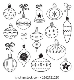 Set of line art Christmas ornaments hanging on ribbons. Vintage  decorative baubles isolated on white. Retro hand drawn style designs for Christmas and New Year, cards, invitations, giftware.