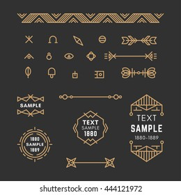 Set of Line Art Decorative Geometric Vector Frames and Borders with Golden and Black Colors. Vector Ornaments, Decoration, Line Ornament, Logos, Labels