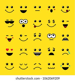 Set of line art emoticons or emoji icons yellow. Smile icons vector illustration isolated on yellow background. Concept for World Smile Day smiling card or banner