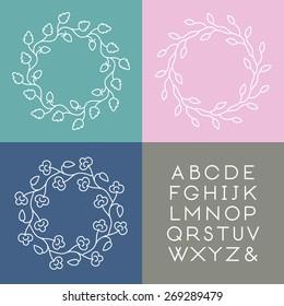 Set of line art vector monogram templates with slim font.