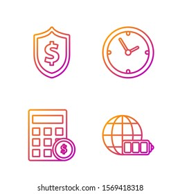 Set line Battery charge level indicator with earth globe, Calculator with dollar symbol, Shield with dollar symbol and Clock. Gradient color icons. Vector